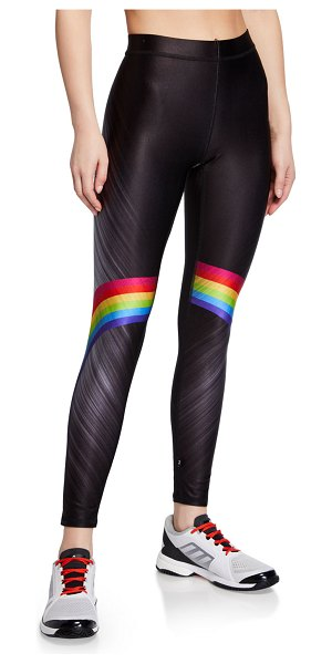 Terez Rainbow-Print High-Rise Performance Leggings in black pattern - Terez performance leggings with rainbow details....