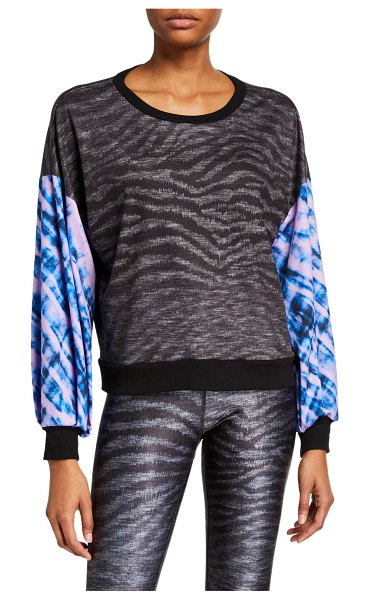 Terez Show Your Stripes Printed Puff Sleeve Sweatshirt in black pattern