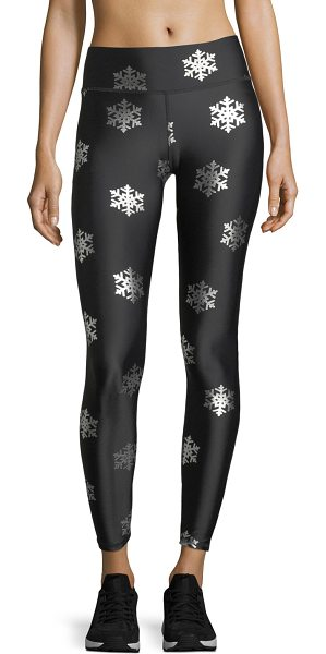 TEREZ Snowflake Foil Full-Length Performance Leggings - Terez performance leggings with snowflake foil graphics....