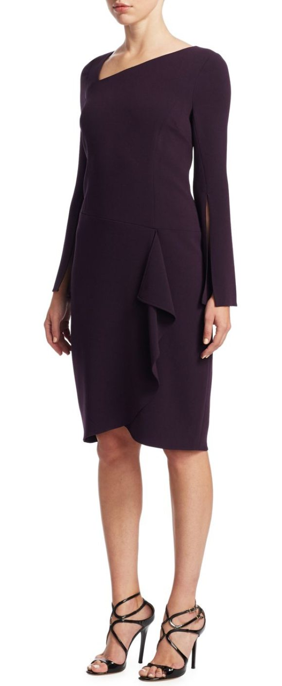 Teri Jon asymmetric neck sheath dress in eggplant - Chic long sleeve sheath with angular design. Asymmetric...