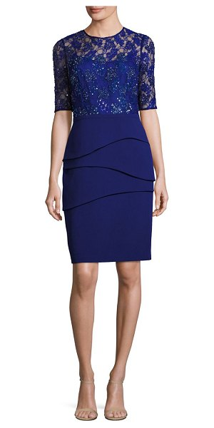 Teri Jon lace bodice illusion sheath dress in champagne,navy,periwinkle - Polished sheath shimmering dress with embellished lace...