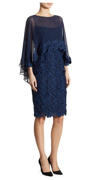 TERI JON cape sheath dress - Floral lace sheath topped with polyester-blend cape...
