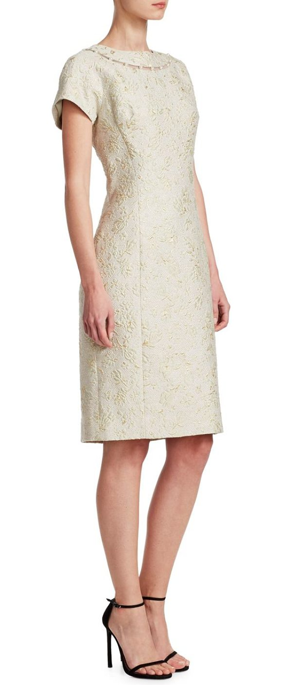 Teri Jon jacquard sheath dress in celery - Jacquard sheath dress finished with delicate pearl...