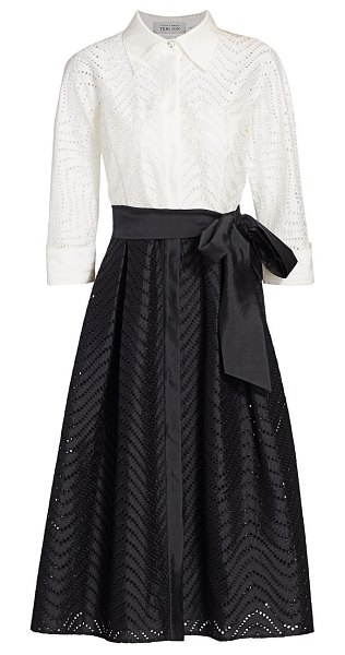 Teri Jon two-tone lace-eyelet belted a-line shirtdress in black white