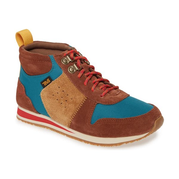 Teva highside 84 mid top sneaker in tortoise shell leather