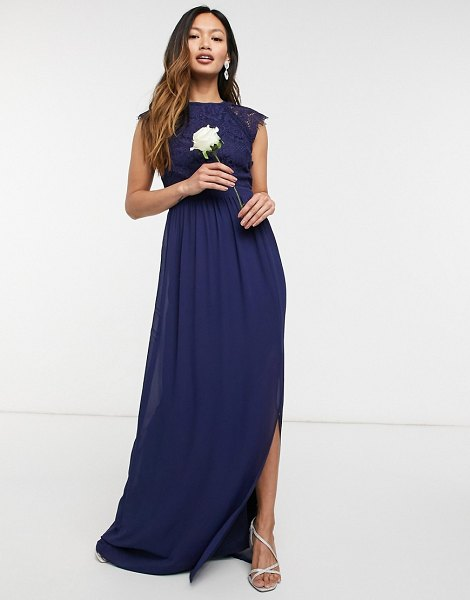 TFNC bridesmaid lace open back maxi dress in navy in navy