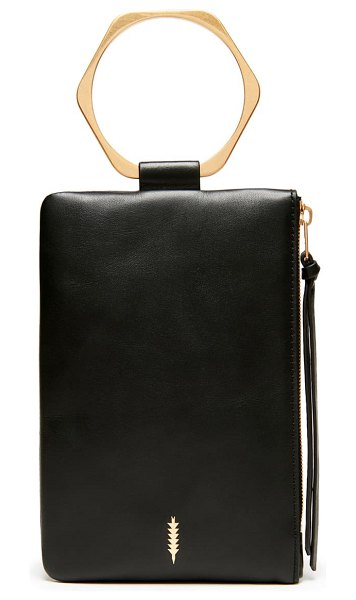 THACKER nolita hexagon handle leather clutch in black