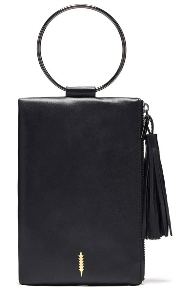 THACKER nolita ring handle leather clutch in black/ gunmetal