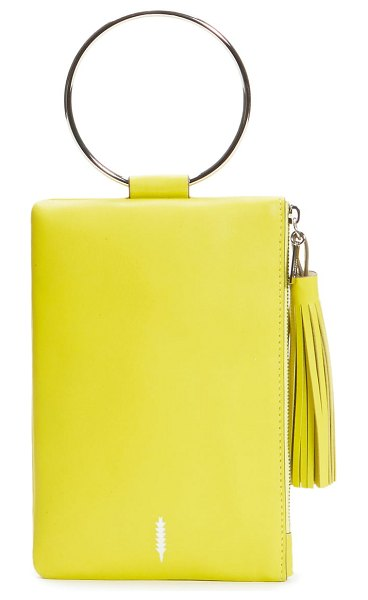 THACKER nolita ring handle leather clutch in citron
