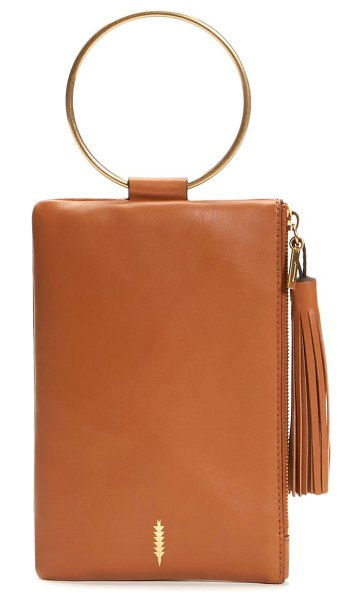 THACKER nolita ring handle leather clutch in luggage
