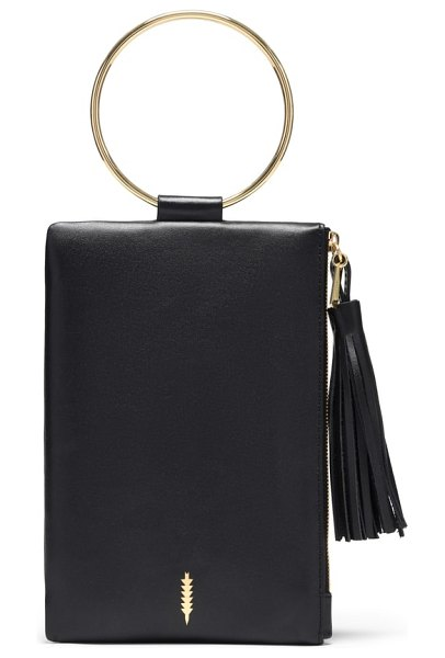 THACKER nolita ring handle leather clutch in black gold