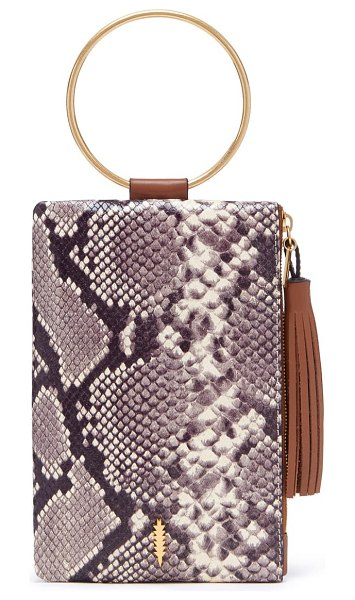 THACKER nolita snake embossed leather ring handle clutch in natural python
