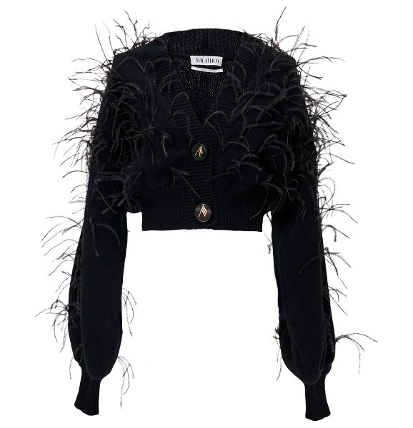 The Attico feather-embellished wool cropped cardigan in black