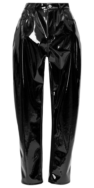 The Attico high-waisted vinyl straight-leg pants in black