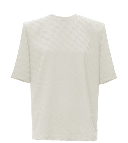 The Attico printed shoulder-pad jersey t-shirt in white