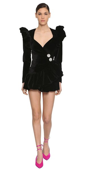 The Attico Ruffled cotton velvet mini wrap dress in black