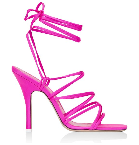 The Attico strappy satin lace-up sandals in pink