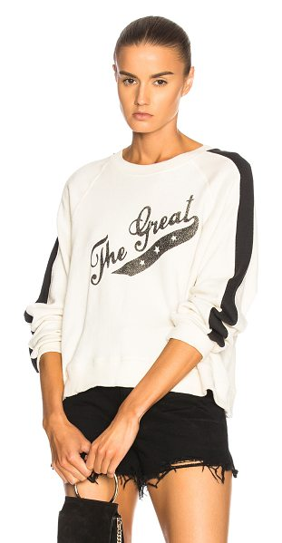 The Great Crop Logo Sweatshirt in neutrals - 100% cotton.  Made in USA.  Machine wash.  Rib knit trim.