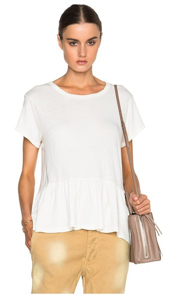 THE GREAT Ruffle Tee in white - Jersey knit fabric.  Made in USA.  Distressed fabric...