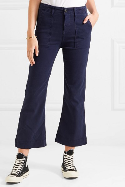 The Great the army mariner stretch-lyocell and cotton-blend flared pants in navy
