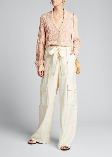 The Great The Cable Montana Cardigan in soft pink