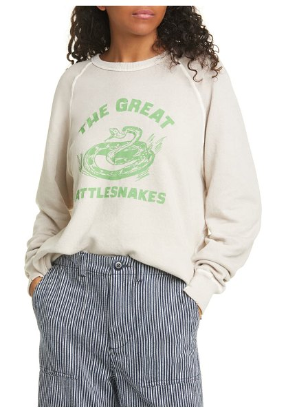 The Great the college graphic logo cotton sweatshirt in oyster
