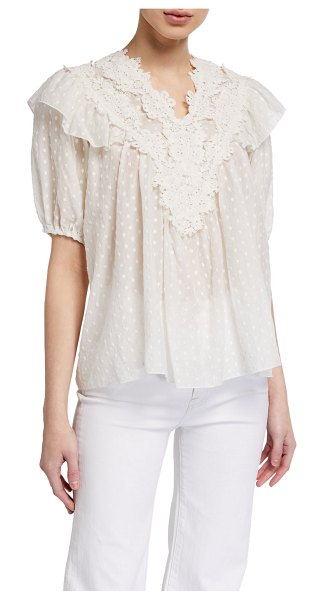 The Great The Lace Prim Top in cream
