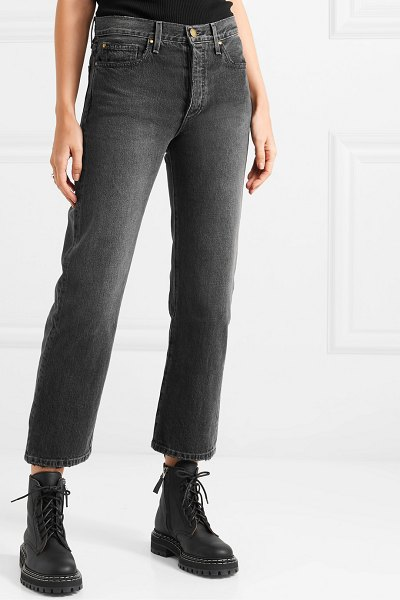 The Great the lasso cropped high-rise straight-leg jeans in black