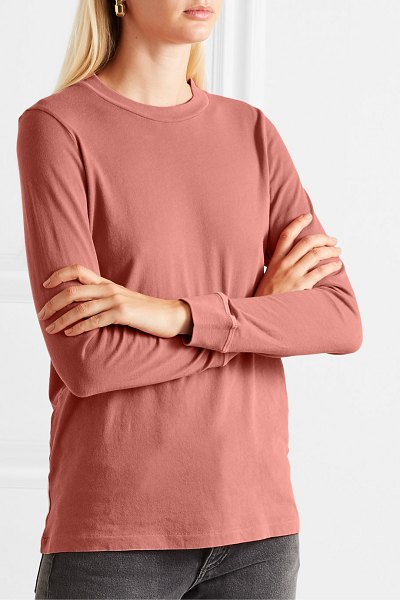 The Great the long sleeve cotton-jersey top in pastel pink