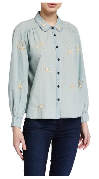 The Great The Stable Button-Up Top with Floral Embroidery in cloud wash