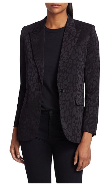 The Kooples Leopard Print Satin Blazer in black