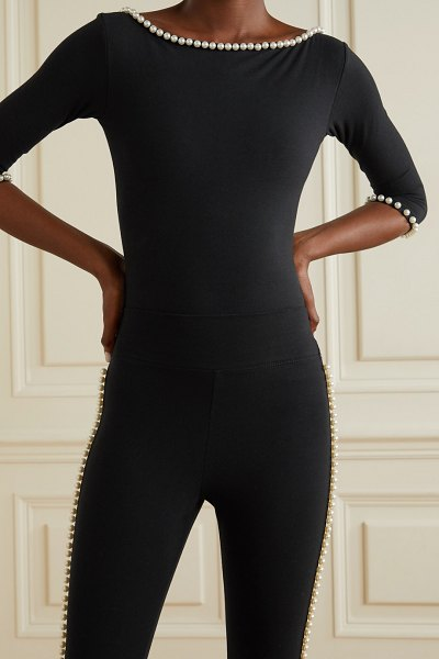 The Marc Jacobs capezio faux pearl-embellished stretch-cotton jersey bodysuit in black
