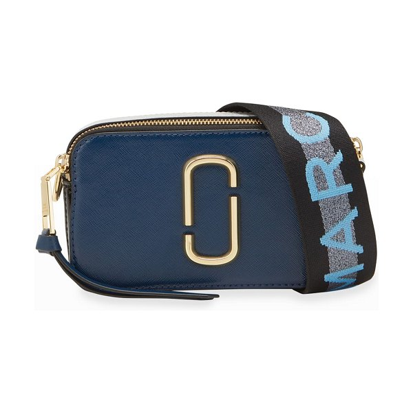 The Marc Jacobs Snapshot Coated Leather Camera Bag in blue pattern