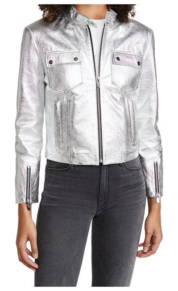 The Mighty Company the mayfair racer jacket in metallic silver