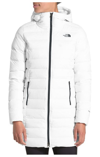 The North Face 700 fill power stretch down parka in tnf white