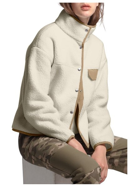 The North Face cragmont fleece jacket in vintage white/ kelp tan