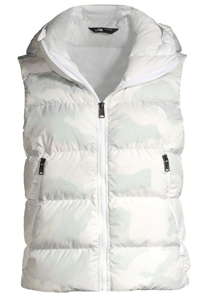 The North Face hyalite camouflage down hoodie vest in white waxed camo print