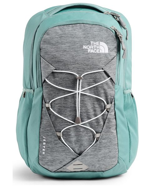 The North Face 'jester' backpack in mid gry lgt htr/ trellis grn