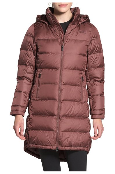 The North Face metropolis iii hooded water resistant down parka in marron purple