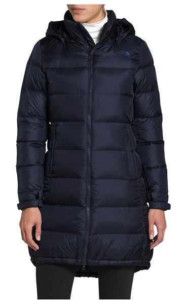 The North Face miss metro ii water repellent 550 fill power down hooded parka in aviator navy
