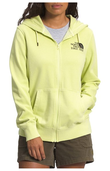 The North Face mountain peace zip graphic hoodie in pale lime yellow