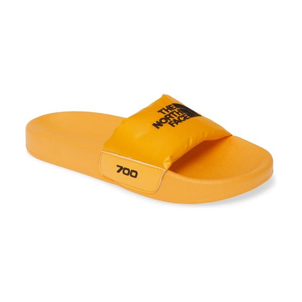 The North Face nuptse down fill slide sandal in yellow/ black