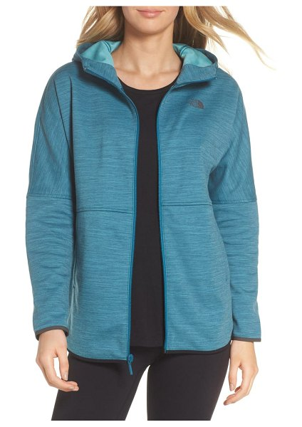 The North Face slacker hooded jacket in coral blue space dye