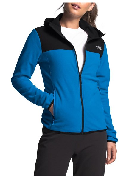 The North Face tka glacier hooded jacket in clear lake blue/ tnf black