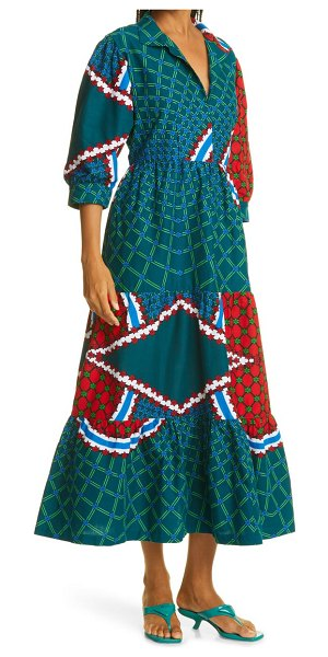 THE OULA COMPANY holiday mandala bracelet sleeve midi dress in red blue green at nordstrom in red blue green