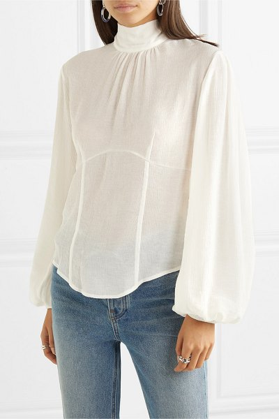 The Range vapor tie-detailed crinkled-voile blouse in white