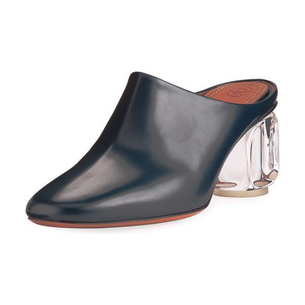 "THE ROW Adela Mule with Glass Heel in navy - THE ROW mule in calf leather. 2.4"" glass heel. Round..."