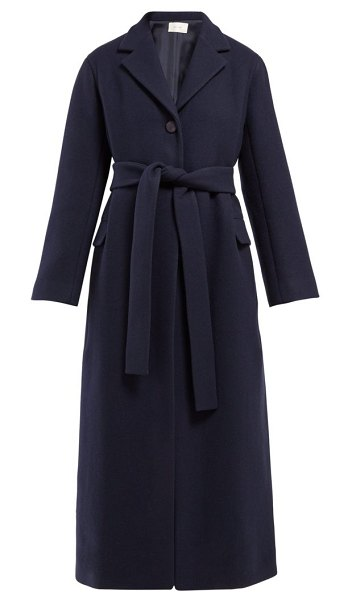 THE ROW amoy single-breasted belted cashmere coat in navy
