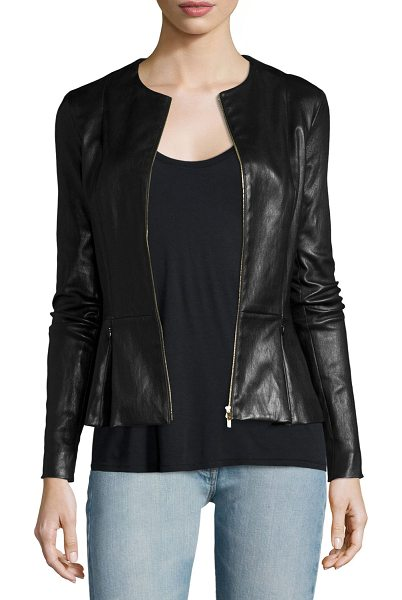 THE ROW Anasta Zip-Front Leather Jacket in black