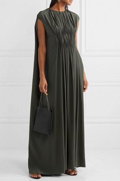 THE ROW antonia cape-effect embellished pleated silk-crepe gown in army green